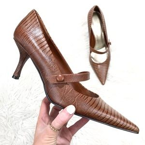New! Nine West Brown Leather Snake Print Heel 9.5M